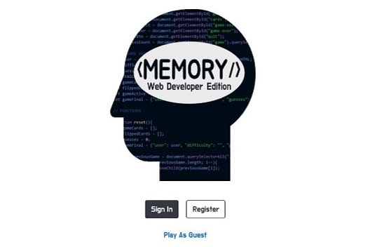 Profile of head with programming code in the background and the title Memory Web Developer Edition