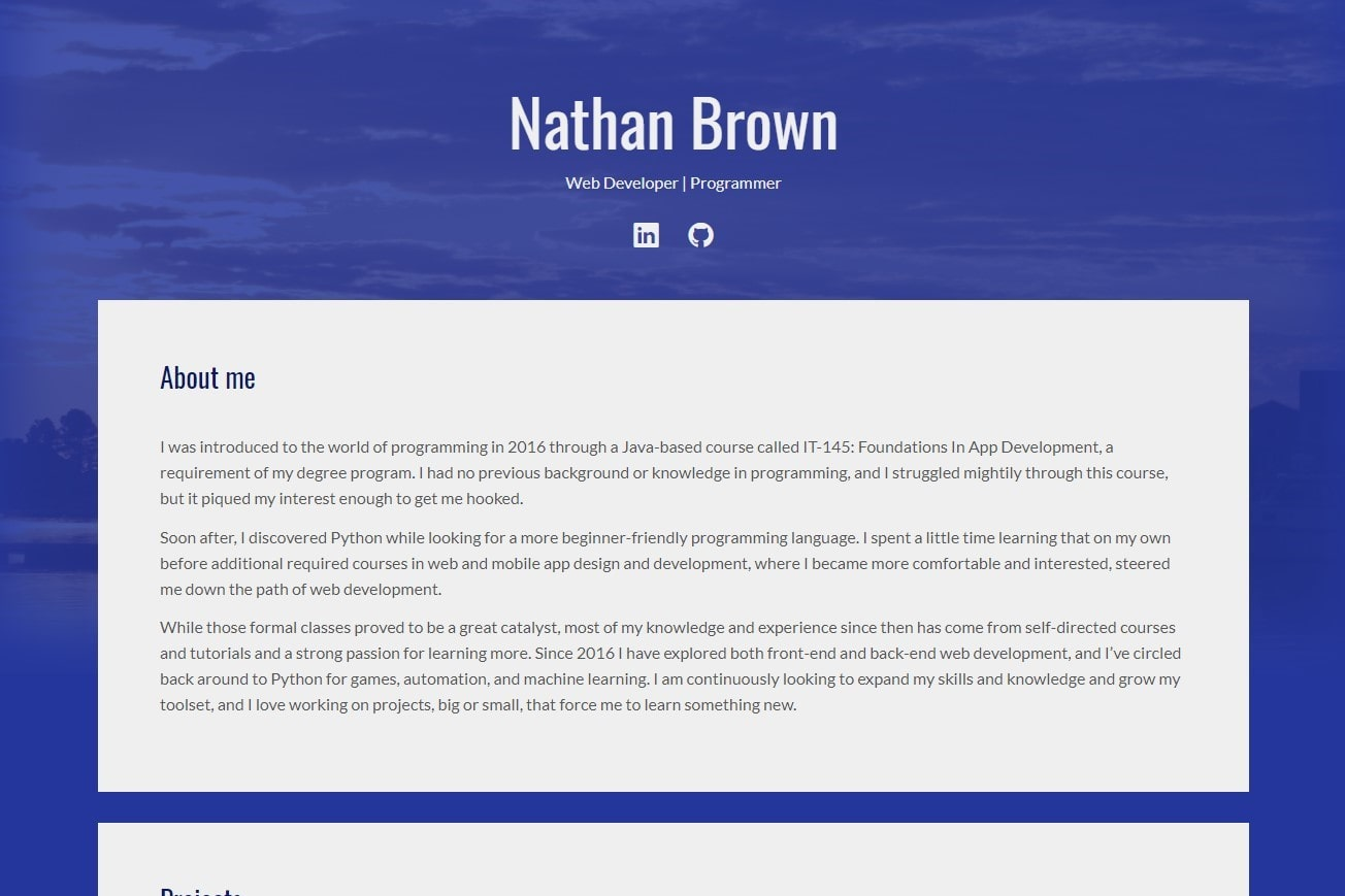 Home page of a portfolio website with a blue background