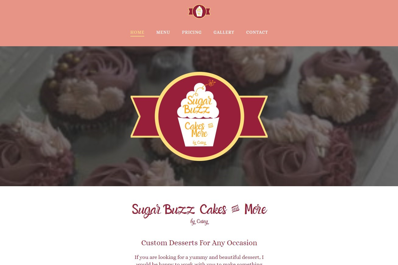 Bakery website with a cupcake logo