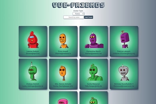 Green cards with various cartoon robot characters